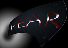 FEAR. The word fear on black background stock illustration