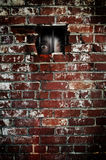 Fear. Red brick wall with frightened scared eyes peering through the bars. Spider webs are on the left side of the image. Concept for fear royalty free stock photography