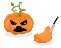 Fear. Scared pumpkin and a piece of a pumpkin with a knife inside royalty free illustration
