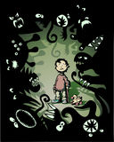 Fear. Illustration of a fearful little boy surrounded by fantasy monsters vector illustration