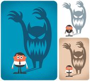 Fear. Man haunted by his shadow. The illustration is in 3 versions vector illustration