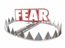 Fear Afraid Danger Scared Warning Bear Trap Word. 3d Stock Photos