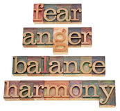 Fear, anger, balance, harmony. Progression of feelings or state of mind - a collage of isolated words in vintage wood letterpress type, stained by color inks Stock Photos