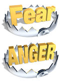 Fear/Anger Trap. Gold word Fear and Anger in center of shiny steel traps with sharp teeth. Symbol of balance and risk. Isolated 3D illustration. Horizontal Stock Photo