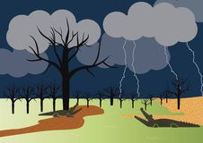Fear and Awe. Swamp Painting atmosphere of storm royalty free illustration