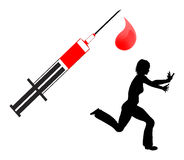 Fear of Blood. Humorous concept sign of a female person who cannot stand the view of blood stock illustration