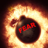 Fear Bomb Means Fright Frightened And Explosion. Fear Bomb Indicating Fears Terrified And Anxious vector illustration