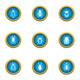 Fear of bug icons set, flat style. Fear of bug icons set. Flat set of 9 fear of bug vector icons for web isolated on white background Royalty Free Stock Photography