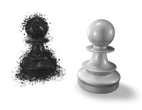 Fear and challenge metaphor with two chess pawns Royalty Free Stock Photos