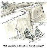 Fear of Change. The cartoon shows a therapist with the Dutch boy asking if he is afraid of change vector illustration