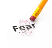 Fear concept. With word eraser and pencil on white background Stock Photography