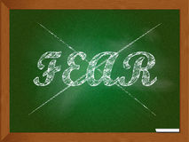 Fear crossed out on chalkboard Stock Images