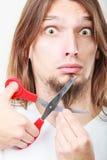 Fear of cutting beard Royalty Free Stock Photos