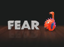 Fear 3d Word Red Plastic Finger Puppet Monster Stock Image