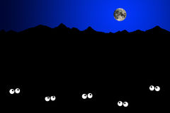 Fear of the dark. People being fearful in the dark of night vector illustration