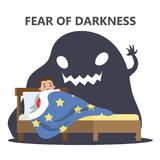 Fear of darkness concept. Child scared of monster. Fear of darkness concept. Little child scared of monster from nightmare. Lying in bed without sleep and being stock illustration