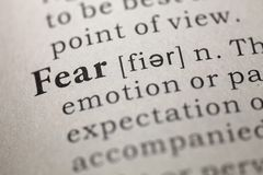Fear. Dictionary definition of the word Fear stock photos