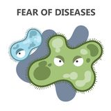 Fear of disease. Being afraid and avoid sick person. Fright of getting infection. Isolated flat vector illustration stock illustration