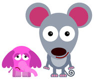 The fear of elephant. A cartoon illustration of an elephant beside a big mouse royalty free illustration