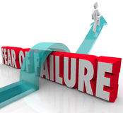 Fear of Failure Overcome Challenge Anxiety Uncertainty Over 3d W. Fear of Failure words in red 3d letters and a man jumping over it to overcome a challenge such vector illustration