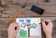Fear - Fearless signpost drawn on white paper Royalty Free Stock Photos
