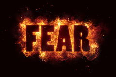 Fear fire text flame flames burn burning hot explosion Royalty Free Stock Photo