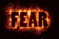 Fear fire text flame flames burn burning hot explosion Royalty Free Stock Image