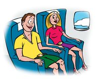Fear of flying. Cartoon illustration of a man and woman flying on a plane vector illustration