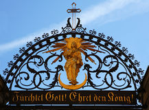 Fear God! Honor the King!. The German inscription to this Church gate reads Fear God! Honor the King Royalty Free Stock Images