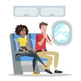 Fear of height. Man in airplane is afraid. Fear of height or acrophobia. Man flying in airplane is afraid. Irrational phobia. Psychology and psycho therapy stock illustration