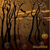 Fear of a holiday Halloween. Black forest ghosts in the form of a skull stock illustration