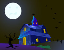 The fear house. The horror and fear house will meet you this day-helloween stock illustration