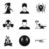 Fear icons set, simple style. Fear icons set. Simple set of 9 fear vector icons for web isolated on white background Royalty Free Stock Image