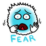 Fear. Illustration of one of the basic human emotions - fear. Blue creature with expression of fear on its face - wide opened eyes and shouting mouth, shaking in Stock Photos