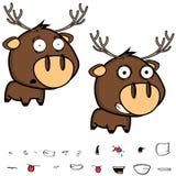 Fear Little deer cartoon big head set expressions. Cute little deer cartoon big head set expressions in vector format vector illustration