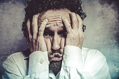 Fear, man in white shirt with funny expressions Royalty Free Stock Photography