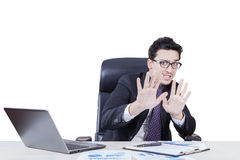 Fear manager scolded by someon in office Royalty Free Stock Image