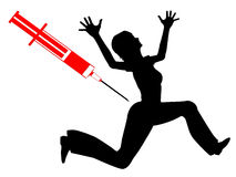 Fear of Needles. Humorous concept sign of woman with needle phobia royalty free illustration