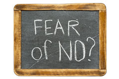 Fear of NO. Question handwritten on vintage school slate board stock image
