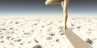 Fear and Peace. Calm in the face of adversity on a ledge or diving board in the sky stock illustration