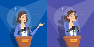 Fear of public speaking. Woman is afraid. Fear of public speaking or glossphobia. Woman is afraid of giving presentation to the audience. Social anxiety and stock illustration