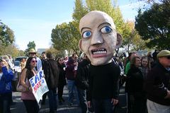 Fear (Rally to Restore Sanity and/or Fear). WASHINGTON, DC - OCT 30: A man with a fear-based head puppet walks among the crowd at the Stewart/Colbert Rally to Stock Images