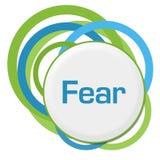 Fear Random Green Blue Rings. Fear text alphabets written over green blue background vector illustration