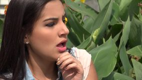 Fear, Scared, Afraid, Emotion. Stock video of a Hispanic woman stock video footage