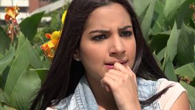 Fear, Scared, Afraid, Emotion. Stock video of a Hispanic woman stock footage