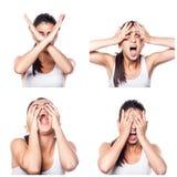 Fear, shock, stress girl composite Stock Photos
