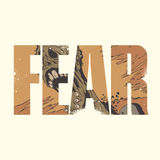 Fear sign. Vector fear poster with double exposure effect royalty free illustration