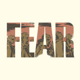 Fear sign. Vector fear poster with double exposure effect stock illustration