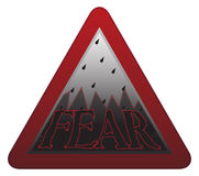 Fear Signpost. A fear warning sign isolated on a white background stock illustration