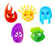 Fear surprise joy sadness disgust Emoticon  illustration. Set emoticon face on a white background. Different emotions collec Stock Images